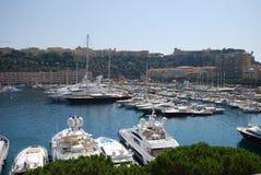 Monaco Bay, marina, harbor, dock, vehicle. Monaco Bay with it`s wonderful marina and some of the best boats in the world Stock Photo