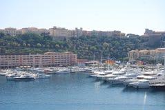Monaco Bay, marina, harbor, dock, sea. Monaco Bay is marina, sea and boat. That marvel has harbor, vehicle and infrastructure and that beauty contains dock, port stock photos