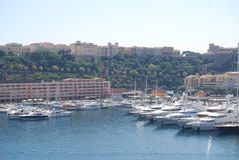 Monaco Bay, Monte-Carlo, marina, harbor, dock, vehicle. Monaco Bay in Monte-Carlo where you can see harbor, dock, port, infrastructure, boat Stock Photos
