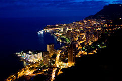 Monaco bij nacht Royalty-vrije Stock Foto's