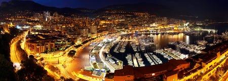 Monaco bij nacht Stock Afbeeldingen