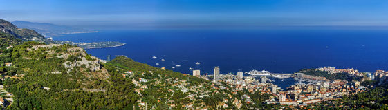 Monaco bird-fly panoramic view from high mountain Royalty Free Stock Photos