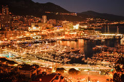 Monaco bis zum Nacht Lizenzfreies Stockfoto