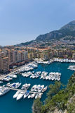 Monaco and Boats. Aerial view of monaco and boats royalty free stock photos