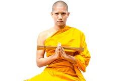 Monaco buddista, elasticità del monaco buddista un sermone alla gente. Fotografie Stock Libere da Diritti