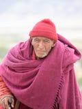 Monaco buddista tibetano anziano in Ladakh L'India Fotografia Stock Libera da Diritti