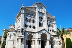 Monaco Cathedral. Saint Nicholas Cathedral also known as Cathedrale de Monaco, and Cathedral of Our Lady of the Immaculate Conception, Monaco-Ville Stock Photo