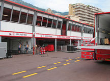 Monaco Circuit - Team Ferrari Paddock Stock Image