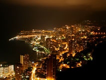 Monaco cityscape vid natt Arkivbilder