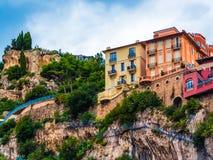Monaco colorful cliff side buildings stock photos