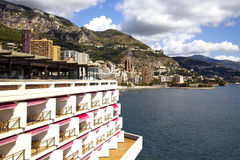 Monaco coastline with beaches and luxury hotels Royalty Free Stock Photos