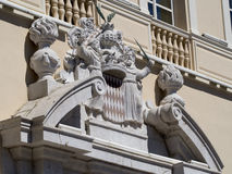 Monaco Coat of arms. Coat of arms at the Prince's Palace of Monaco. The Prince's Palace of Monaco is the official residence of the Prince of Monaco. Built in stock image