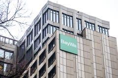 Monaco di Baviera, Germania - 16 febbraio 2018: BayWa AG è un gruppo di servizi e di commercio dei tre segmenti di funzionamento Immagine Stock