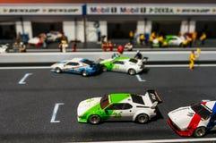 Monaco di Baviera, Germania - 10 marzo 2016: Piccolo modello dell'esposizione della pista di corsa nel museo di BMW Fotografia Stock Libera da Diritti