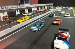 Monaco di Baviera, Germania - 10 marzo 2016: Piccolo modello dell'esposizione della pista di corsa nel museo di BMW Fotografie Stock