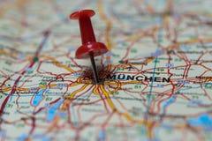 Monaco di Baviera sulla mappa Fotografia Stock Libera da Diritti