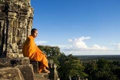 Monaco di contemplazione tradizionale nel concetto della Cambogia Fotografia Stock Libera da Diritti