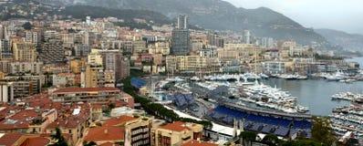 Monaco - en härlig sikt av Monte Carlo från höjderna Fotografering för Bildbyråer