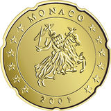 Or Monaco eurocent d'argent d'argent de vecteur Photos stock