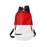 Monaco flag backpack isolated on white Royalty Free Stock Photo