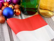 Monaco flag with christmas decoration, new year Stock Photography