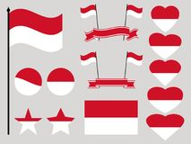 Monaco flag set. Collection of symbols heart and circle. Vector Stock Photos