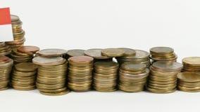 Monaco flag with stack of money coins. Monaco flag waving with stack of money coins stock video