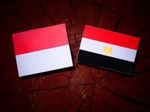 Monaco flaga z egipcjanin flaga na drzewnym fiszorku Zdjęcia Stock