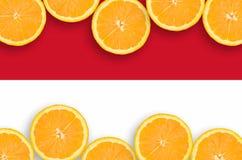 Monaco flagga i citrusfruktskivahorisontalram arkivbilder