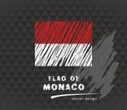 Monaco-Flagge, gezeichnete Illustration der Vektorskizze Hand auf dunklem Schmutzhintergrund Stockfoto
