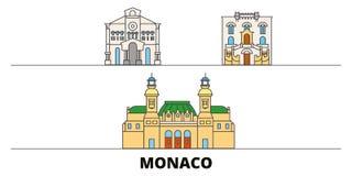 Monaco flat landmarks vector illustration. Monaco line city with famous travel sights, skyline, design. Monaco flat landmarks vector illustration. Monaco line royalty free illustration