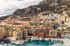 Monaco Fontvieille cityscape Royaltyfria Bilder