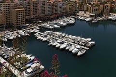 Monaco Fontvielle, Port de Fontvielle, ny hamn Royaltyfri Fotografi