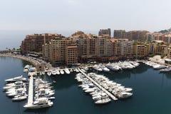 Monaco Fontvielle, Port de Fontvielle, ny hamn Fotografering för Bildbyråer