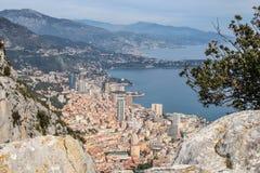Monaco från himmelsiktsbergen Monte - carlo arkivbild