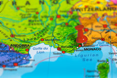 Monaco France map. Monaco in France pinned on colorful political map of Europe. Geopolitical school atlas. Tilt shift effect Stock Photo