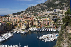 Monaco - French Riviera. The Port of Fontvieille in the Principality of Monaco, a sovereign city state, located on the French Riviera. It has an area of 1.98 km2 Royalty Free Stock Photography