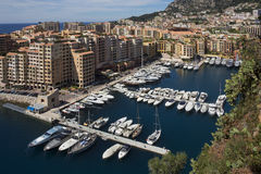 Monaco - French Riviera. The Port of Fontvieille in the Principality of Monaco, a sovereign city state, located on the French Riviera. It has an area of 1.98 km2 Stock Images