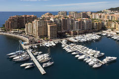 Monaco - French Riviera. The Port of Fontvieille in the Principality of Monaco, a sovereign city state, located on the French Riviera. It has an area of 1.98 km2 Stock Photos