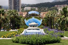 Monaco gardens. The famous fountains of Monaco. Hotel de Paris Stock Photos