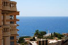 Monaco: glamour hotel and sunlit sea Royalty Free Stock Image