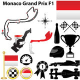 Monaco Grand Prix F1. Vector set of Monaco Grand Prix Formula 1 with country shape, flags and sport icons isolated on white background Royalty Free Stock Images