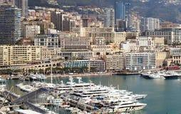 Monaco Grand Prix French riviera, Côte d`Azur, mediterranean coast, Eze, Saint-Tropez, Cannes. Blue water and luxury yachts. Fench riviera, Côte d`Azur Royalty Free Stock Photo
