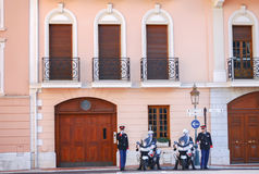 Monaco Guard and police on duty  protect the duke during he goes out near the Prince's Palace of Monaco. Royalty Free Stock Photo