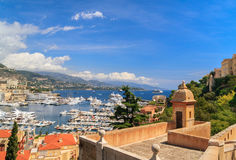 Monaco harbor, French Riviera. Panoramic view of Monaco harbor, French Riviera Stock Photography