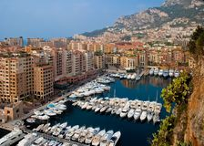 Monaco harbor or marina. Aerial view of boats moored in Monaco city and harbor Stock Photography
