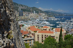 Monaco harbor over its fortification Royalty Free Stock Photos