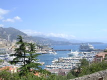 Monaco harbour. View of the harbor of Monaco, Cruise liner and yachts at rest stock images