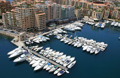 Monaco Harbour. From above showing boats Stock Photo