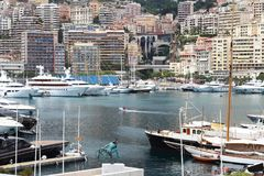 Monaco harbour along the Mediterranean Riviera Royalty Free Stock Photography